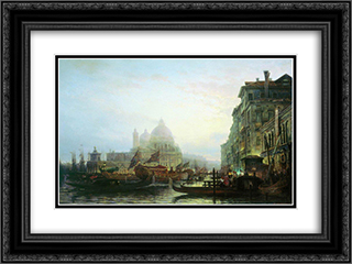 Venice at night 24x18 Black or Gold Ornate Framed and Double Matted Art Print by Alexey Bogolyubov