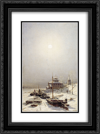 Winter in Borisoglebsk 18x24 Black or Gold Ornate Framed and Double Matted Art Print by Alexey Bogolyubov