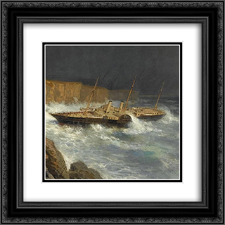Wreck of Livadia (fragment) 20x20 Black or Gold Ornate Framed and Double Matted Art Print by Alexey Bogolyubov