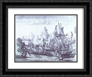 Battle of Gangut June 27, 1714 24x20 Black or Gold Ornate Framed and Double Matted Art Print by Alexey Zubov