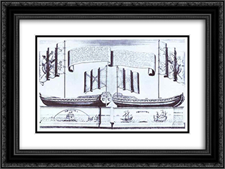 Boat of Peter I 24x18 Black or Gold Ornate Framed and Double Matted Art Print by Alexey Zubov