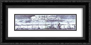 Panoramic View of St. Petersburg 24x12 Black or Gold Ornate Framed and Double Matted Art Print by Alexey Zubov
