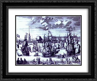 St. Petersburg. View of the Peter and Paul Fortress. 24x20 Black or Gold Ornate Framed and Double Matted Art Print by Alexey Zubov