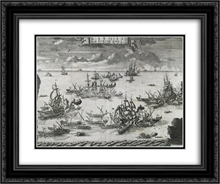 The Battle of Grengam, June 27 1720 24x20 Black or Gold Ornate Framed and Double Matted Art Print by Alexey Zubov