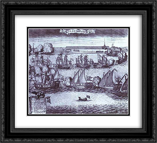 The Bringing of 4 Swedish Frigates in St. Petersburg after the Victory in the Battle of Grengam September 8 1720 22x20 Black or Gold Ornate Framed and Double Matted Art Print by Alexey Zubov