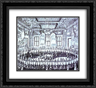 The Wedding Feast of Peter I and Catherine in the Winter Palace of Peter I in St. Petersburg on February 19, 1712 22x20 Black or Gold Ornate Framed and Double Matted Art Print by Alexey Zubov
