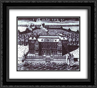 View of A. Menshikov's Palace on Vasilievsky Island 22x20 Black or Gold Ornate Framed and Double Matted Art Print by Alexey Zubov