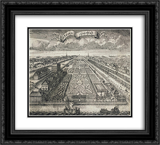 View of the Summer Gardens from the Neva River 22x20 Black or Gold Ornate Framed and Double Matted Art Print by Alexey Zubov