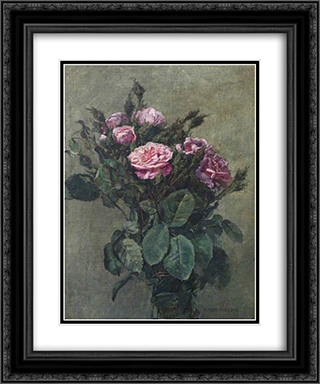A Bunch of London Market Garden Moss Roses 20x24 Black or Gold Ornate Framed and Double Matted Art Print by Alfred Parsons