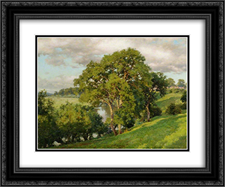 Ash Trees at Cropthorne, Worcestershire 24x20 Black or Gold Ornate Framed and Double Matted Art Print by Alfred Parsons