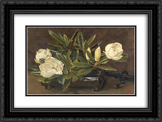 Magnolias 24x18 Black or Gold Ornate Framed and Double Matted Art Print by Alfred Parsons
