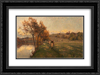Meadows by the Avon 24x18 Black or Gold Ornate Framed and Double Matted Art Print by Alfred Parsons