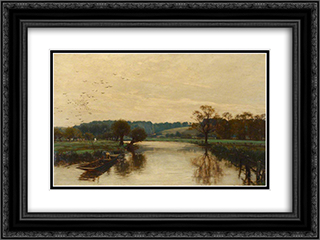 Morning on the Kennet 24x18 Black or Gold Ornate Framed and Double Matted Art Print by Alfred Parsons
