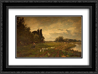 On the Avon near Stratford 24x18 Black or Gold Ornate Framed and Double Matted Art Print by Alfred Parsons