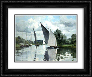 On the Bure at Wroxham 24x20 Black or Gold Ornate Framed and Double Matted Art Print by Alfred Parsons