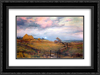 On the Cotswolds 24x18 Black or Gold Ornate Framed and Double Matted Art Print by Alfred Parsons