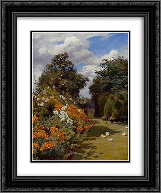 Orange Lilies, Broadway, Worcestershire 20x24 Black or Gold Ornate Framed and Double Matted Art Print by Alfred Parsons