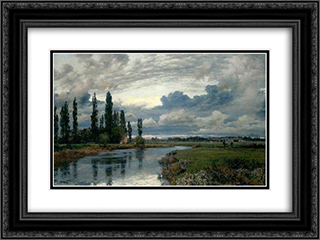 Poplars in the Thames Valley 24x18 Black or Gold Ornate Framed and Double Matted Art Print by Alfred Parsons