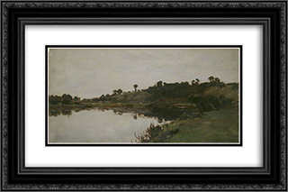 River Landscape 24x16 Black or Gold Ornate Framed and Double Matted Art Print by Alfred Parsons