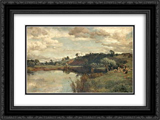 River Scene with a Shepherd and Sheep by a Ferry 24x18 Black or Gold Ornate Framed and Double Matted Art Print by Alfred Parsons