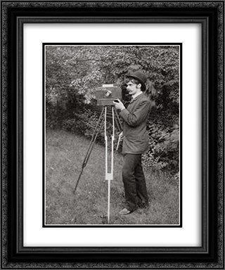 Self-portrait 20x24 Black or Gold Ornate Framed and Double Matted Art Print by Alfred Stieglitz