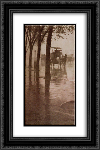Spring Showers, The Coach 16x24 Black or Gold Ornate Framed and Double Matted Art Print by Alfred Stieglitz