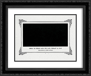 Negroes Fighting in a Tunnel by Night 24x20 Black or Gold Ornate Framed and Double Matted Art Print by Alphonse Allais