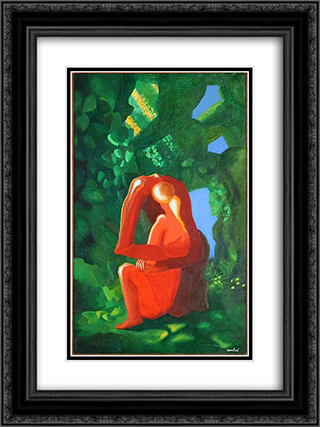 Adam et Eve 18x24 Black or Gold Ornate Framed and Double Matted Art Print by Amedee Ozenfant