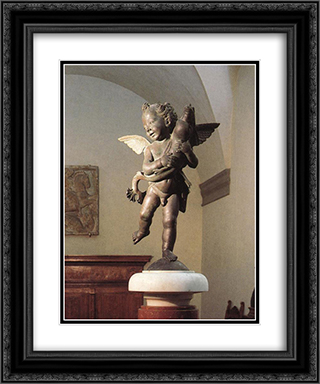 Putto with Dolphin 20x24 Black or Gold Ornate Framed and Double Matted Art Print by Andrea del Verrocchio