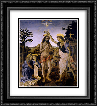 The Baptism of Christ 20x22 Black or Gold Ornate Framed and Double Matted Art Print by Andrea del Verrocchio