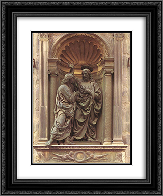 The Doubting Thomas 20x24 Black or Gold Ornate Framed and Double Matted Art Print by Andrea del Verrocchio