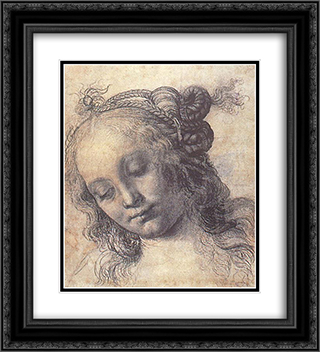 Woman Looking Down 20x22 Black or Gold Ornate Framed and Double Matted Art Print by Andrea del Verrocchio