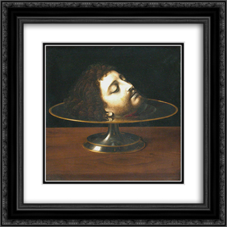 Head of St. John the Baptist 20x20 Black or Gold Ornate Framed and Double Matted Art Print by Andrea Solario