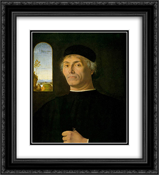 Portrait of a Man 20x22 Black or Gold Ornate Framed and Double Matted Art Print by Andrea Solario
