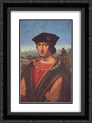 Portrait of Charles d'Amboise 18x24 Black or Gold Ornate Framed and Double Matted Art Print by Andrea Solario