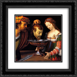 Salome with the head of John the Baptist 20x20 Black or Gold Ornate Framed and Double Matted Art Print by Andrea Solario
