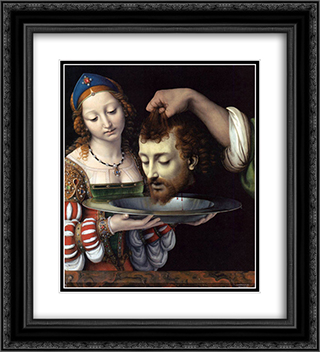Salome with the head of St. John the Baptist 20x22 Black or Gold Ornate Framed and Double Matted Art Print by Andrea Solario