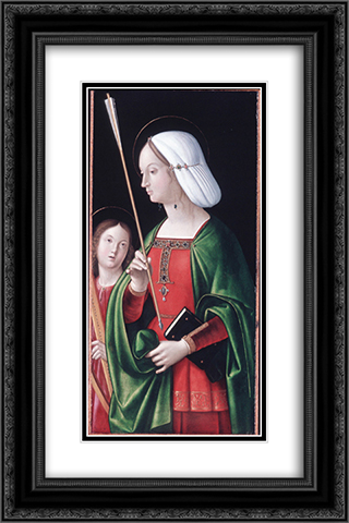 St. Ursula 16x24 Black or Gold Ornate Framed and Double Matted Art Print by Andrea Solario