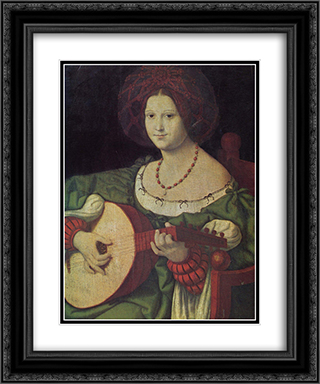 The Lute Player 20x24 Black or Gold Ornate Framed and Double Matted Art Print by Andrea Solario