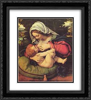 The Virgin of the Green Cushion 20x22 Black or Gold Ornate Framed and Double Matted Art Print by Andrea Solario