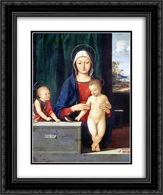 Virgin and Child 20x24 Black or Gold Ornate Framed and Double Matted Art Print by Andrea Solario