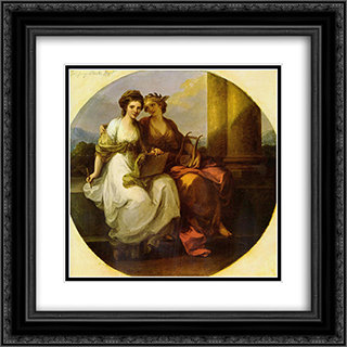 Allegory of poetry and music 20x20 Black or Gold Ornate Framed and Double Matted Art Print by Angelica Kauffman