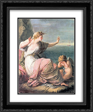 Ariadne left on the island of Naxos 20x24 Black or Gold Ornate Framed and Double Matted Art Print by Angelica Kauffman