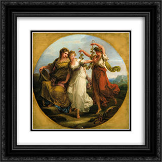 Beauty, supported by Prudence, Scorns the Offering of Folly 20x20 Black or Gold Ornate Framed and Double Matted Art Print by Angelica Kauffman
