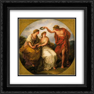 Beauty Directed by Prudence 20x20 Black or Gold Ornate Framed and Double Matted Art Print by Angelica Kauffman