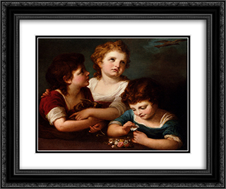 Children with a bird's nest and flowers 24x20 Black or Gold Ornate Framed and Double Matted Art Print by Angelica Kauffman