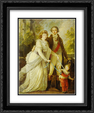 Count Nikolai Tolstoy with his wife Anna Ivanovna and their son Alexander 20x24 Black or Gold Ornate Framed and Double Matted Art Print by Angelica Kauffman