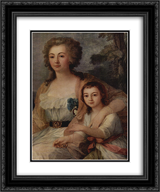 Countess Anna Protassowa with niece 20x24 Black or Gold Ornate Framed and Double Matted Art Print by Angelica Kauffman