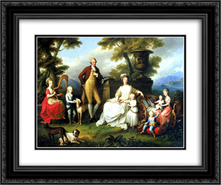 Ferdinand IV of Naples and his family 24x20 Black or Gold Ornate Framed and Double Matted Art Print by Angelica Kauffman