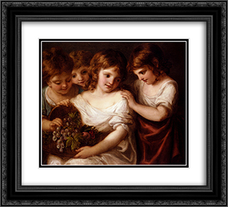 Four Children With A Basket Of Fruit 22x20 Black or Gold Ornate Framed and Double Matted Art Print by Angelica Kauffman